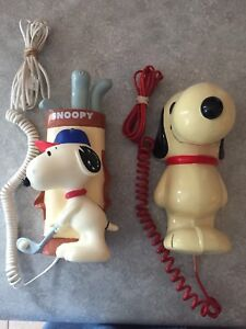 Snoopy Collectible Novelty Antique Telephones X 2