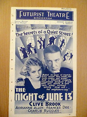 1933 Rare Futurist Picture Programme from Birmingham 'The Night of June 13'