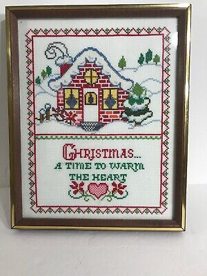 "Christmas Cross Stitch Completed Framed With Glass 15""x12"" Snowy (Glasses With Words)"
