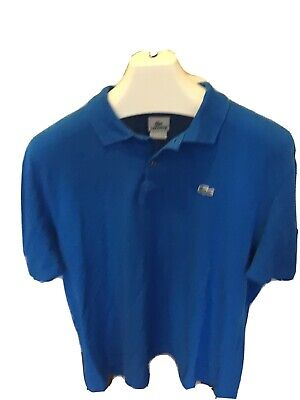 LACOSTE Classic Fit Men's Croc Polo Shirt Blue Cotton Size 7 XXL