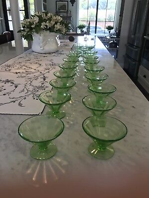 VINTAGE FEDERAL GREEN DEPRESSION SHERBERT PANELED GLASS...purchase 1 Or More