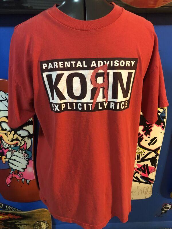 Korn Parental Advisory Explicit Lyrics T-Shirt Size Large Red
