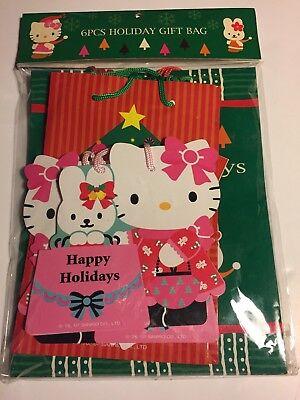 Rare Sanrio Vintage Hello Kitty 2007 happy holidays gift bags set of 6 NEW wrap (Hello Kitty Gift Wrap)