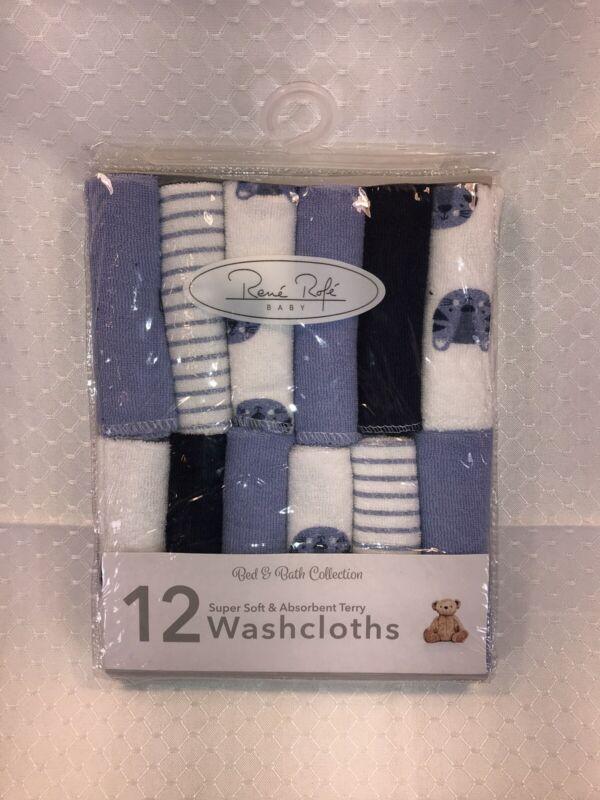 Rene Rofe BABY INFANT Washcloths 12 Wash Cloths Bath Blue Safari Tiger Boy NEW