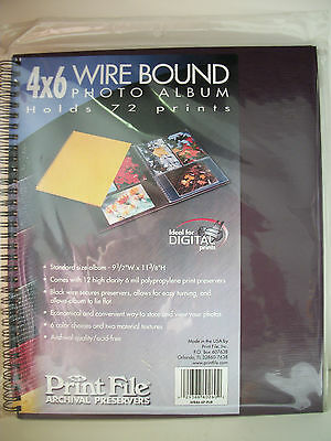 PRINT FILE, 4X6 Wire Bound Album holds 72,PURPLE- WB46-6P-PUR