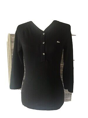 Lacoste Black 3/4 Sleeve Button Up Hensely T Shirt Sz Small/ Xs 38