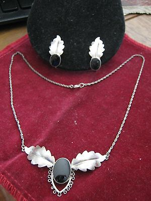 Vintage Sterling Silver & ONYX Leaf Earrings & Necklace SET Signed STAR-ART Lqqk