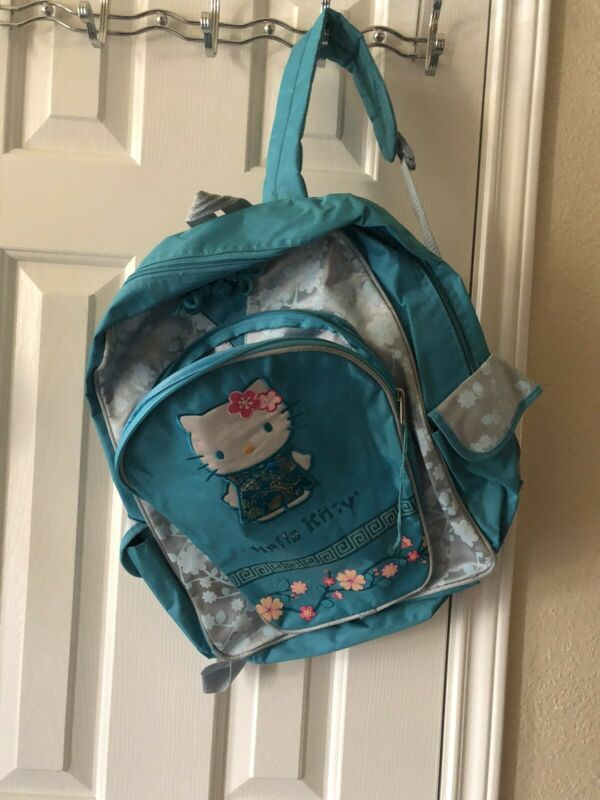 "AQUA COLORED HELLO KITTY BACK PACK - APPROX. 17""X14"" - SANRIO"