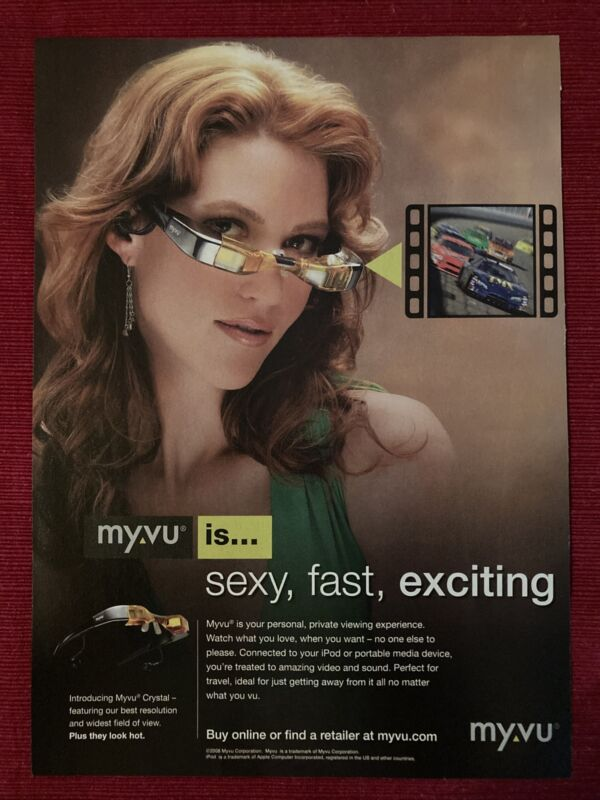 Myvu Crystal Video Gaming Glasses 2008 Ad/Poster Promo Art Ad