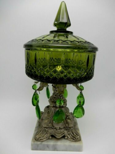 Vintage Green Diamond Point Glass Compote Candy Dish Crystal Drops Pedestal Base