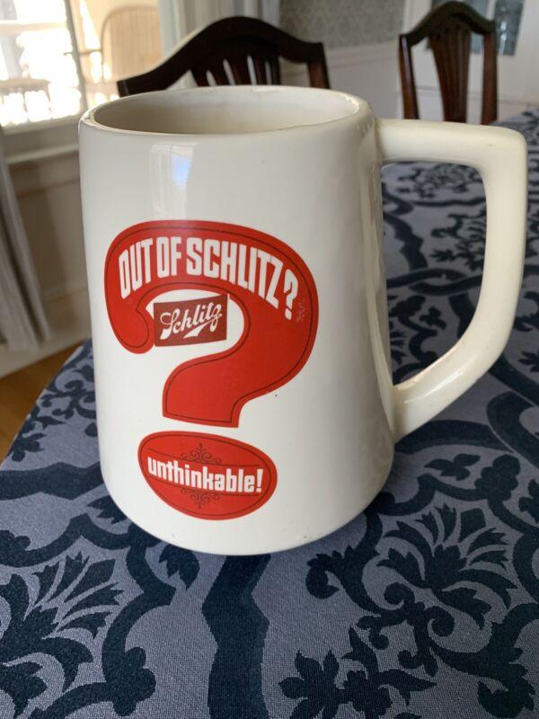 SCHLITZ Oversize Beer Mug OUT OF SCHLITZ? UNTHINKABLE! MINT CONDITION