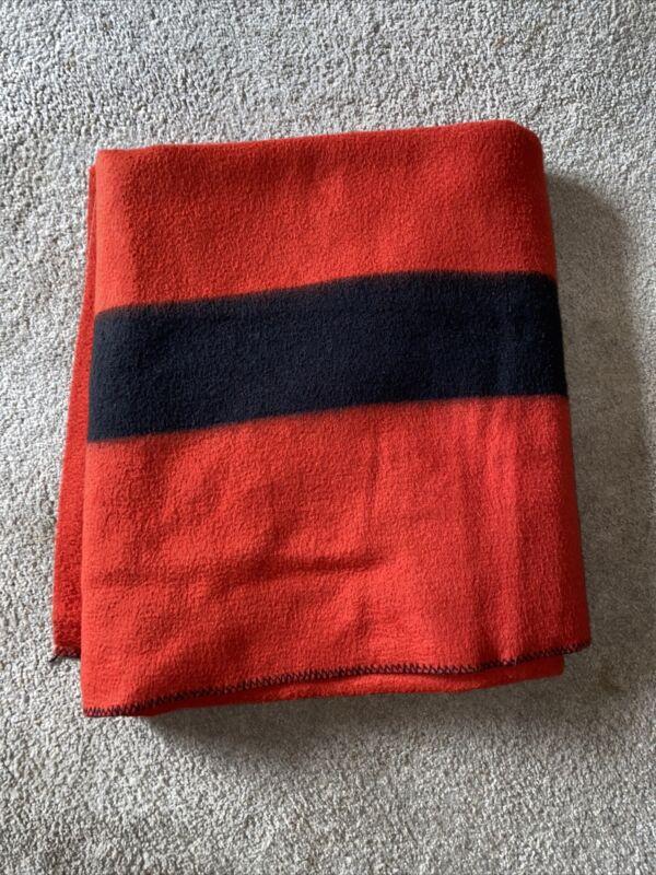 Hudson's Bay-Like Blanket Red & Black Striped Polyester Wool Trading Blanket