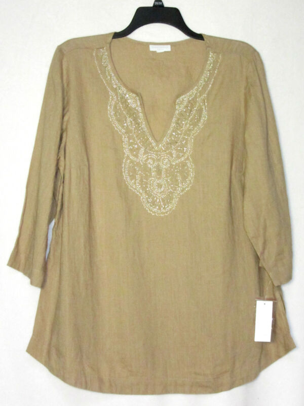 NWT Charter Club Woman 3X Linen Tunic Top Sand Khaki Tan Tan Split Neck Neutral