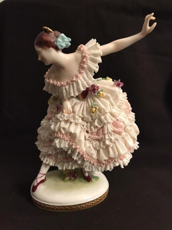 Vintage Volkstedt Porcelain Dresden Lace Ballerina Figurine c 1930