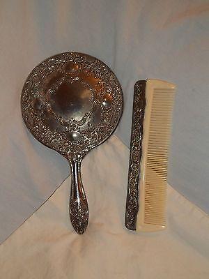 Vintage Heavy Silver Metal Dresser Vanity Set Mirror and  Comb