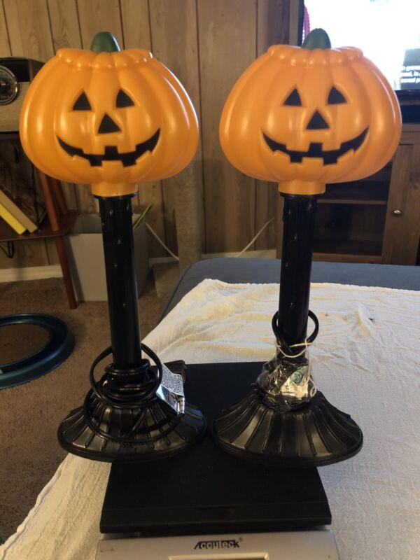 2 VTG Halloween Pumpkin Jack-O-Lantern Candelabra Candle Stick Hard Plastic Used