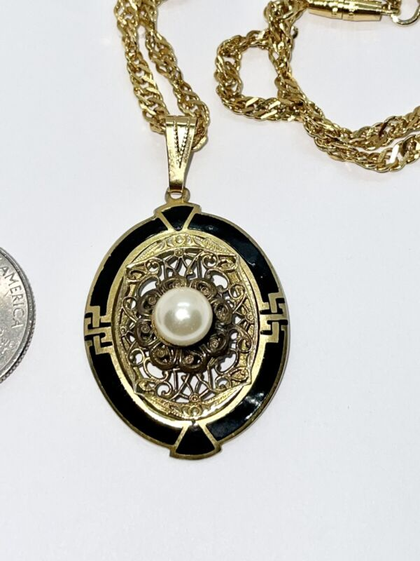 Antique Victorian Edwardian Momento Mori Mourning Pendant with Faux Pearl