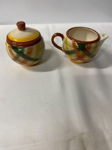 Vintage  Vernonware Creamer, sugar, lid, salt and pepper pottery