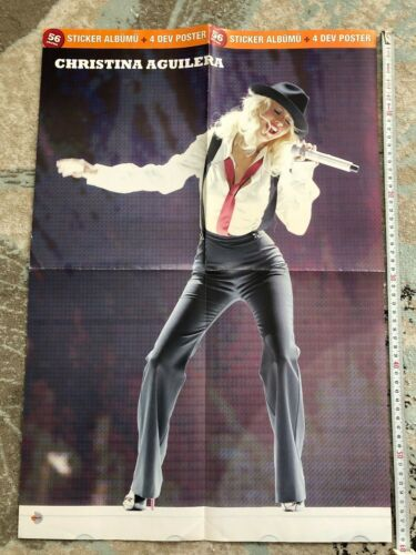 CHRISTINA AGUILERA b/w TRAVIS Turkish Dream magazine rare poster HUGE!