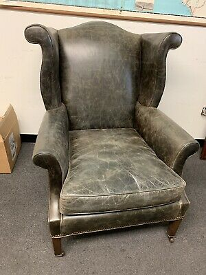Leather Wing Chair - Woodland Furniture leather wing back chair