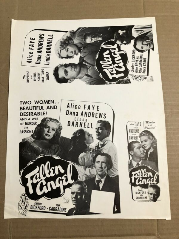 FALLEN ANGEL - Vintage 1945 Press Kit Ad Advertising Supplement Page