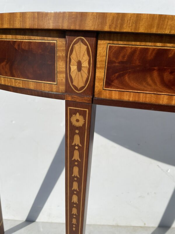 "Exceptional 54"" Inlaid Mahogany Demilune Console Table Councill"