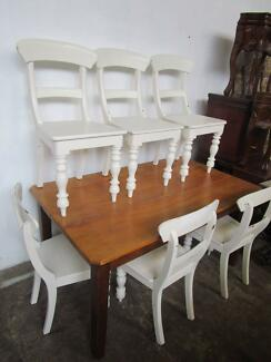D41034 Vintage Set of 6 Painted White Dining Chairs