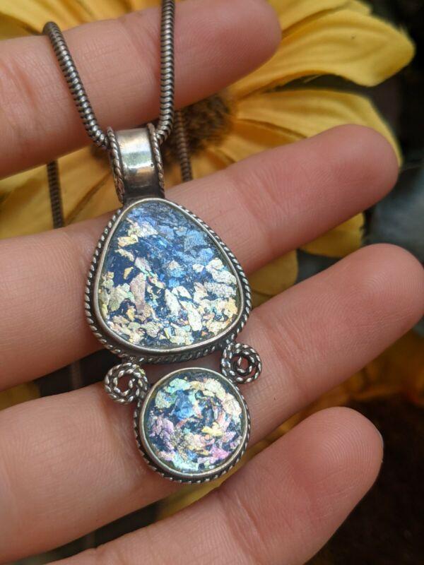 Luli Hamersztein Signed SR Ancient Roman Glass Pendant Chain Necklace