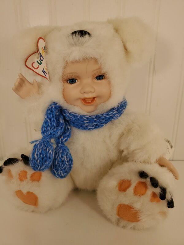 "Geppeddo Plush Cuddle Kids Porcelain Doll Polar Pete 9"" With Tags. No box"