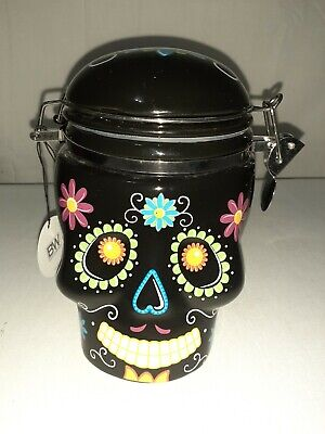 Halloween Sugar Skull Day of the Dead Canister Cookie jar home decor 5-1/2""