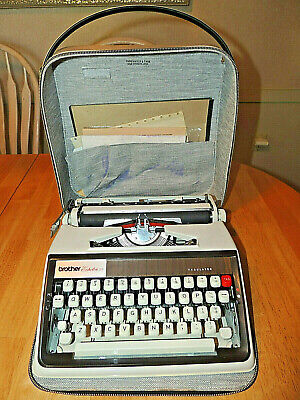 Vintage 1960's Brother Echelon 77 Working Typewriter with Case & Manual.