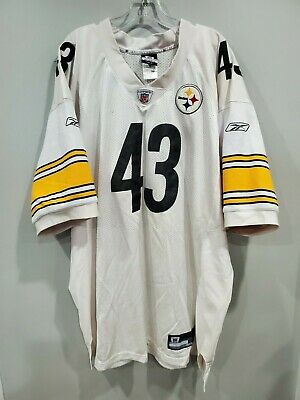 Reebok NFL Pittsburgh Steelers #43 TROY POLAMALU Jersey Mens 58 4XL Sewn