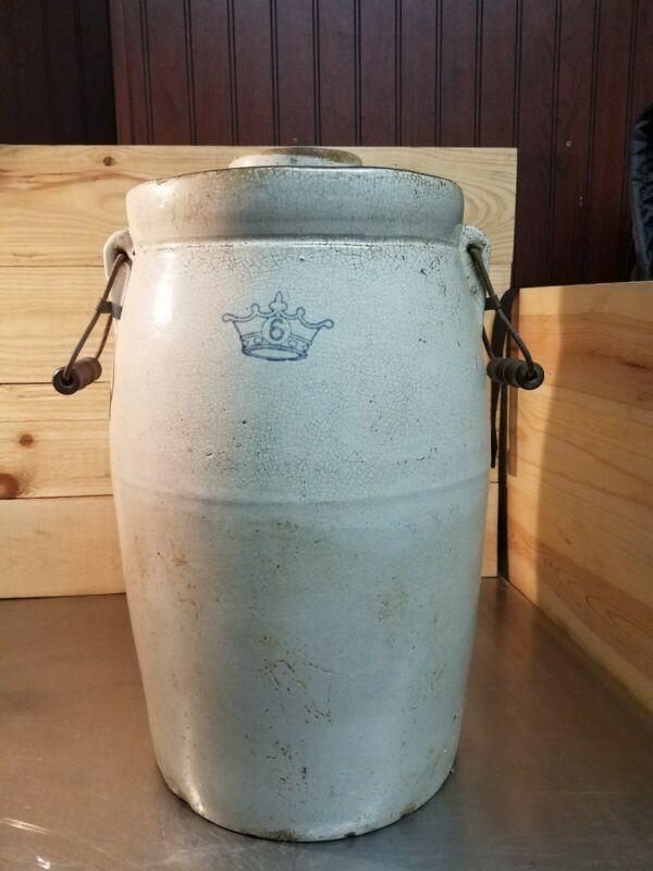 Antique 6 Gallon Butter Churn Crown Stamp Wood Handles No Dasher