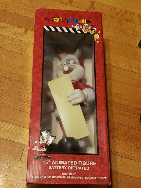 "Bugs Bunny Animated Figure Christmas Santa 15"" List Looney Tunes 1996 Warner Bro"
