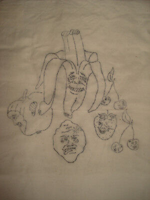 1372 Obst Tasche Jutesack in creme zum sticken oder malen