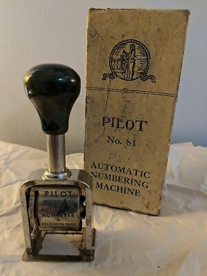 Vintage Pilot Automatic Numbering Machine Stamper - No.81. With Box. Vg.