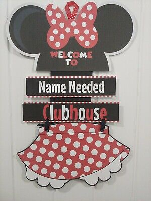 DISNEY MINNIE MOUSE NEED NAME Cardstock Hanging Door Party Sign Red Larger size](Minnie Mouse Red Party Supplies)