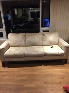 3 piece beige couch set with ottoman (free delivery)