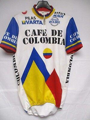 Maillot cycliste CAFÉ DE COLOMBIA VARTA vintage 1986 camiseta jersey shirt 6...
