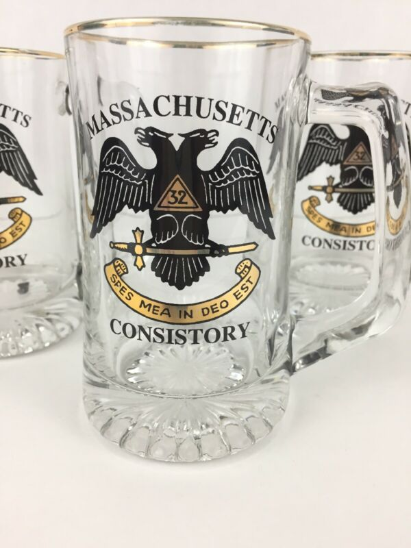 3 Vintage Massachusetts Consistory Masons Glass Beer Mugs