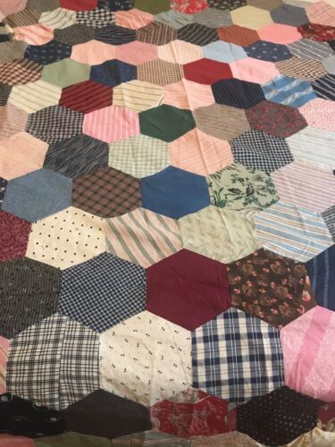 Antique Early 1900s late 1800s Cotton Quilt Top