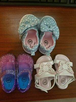 3 pairs Infant Baby Girl Shoes Size 2