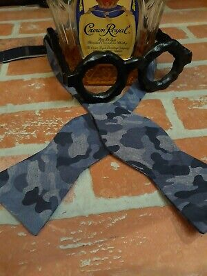 CREMIEUX BOW TIE CAMO Blue Cotton Military Army Camouflage Hunting Wedding - Blue Camo Tie