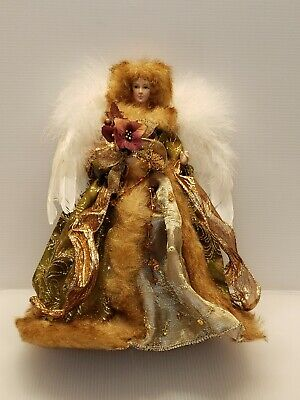 VINTAGE PORCELAIN CHRISTMAS ANGEL TREE/TABLE TOPPER FEATURES AUTHENTIC FEATHERS