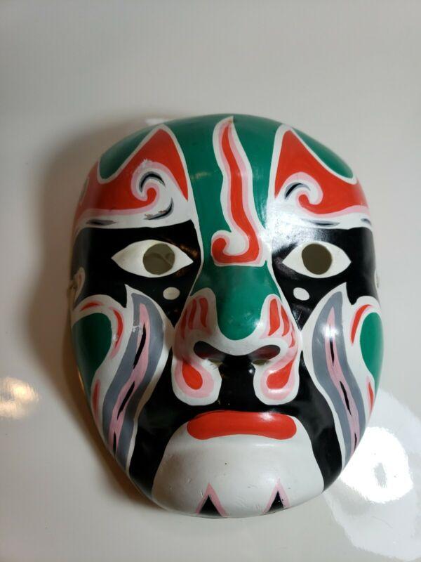 Masquerade Paper Mache Hand Painted Peking Beijing Opera Mask Green Red