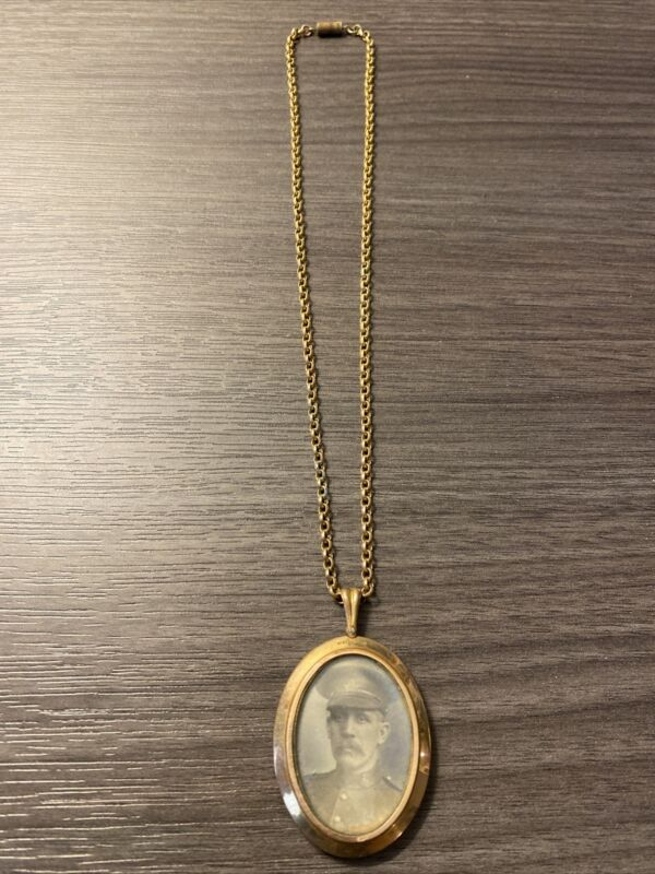 Antique Victorian Rolled Gold Double Sides Picture Pendant Necklace