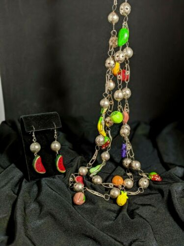 Vintage Mexican Wedding Set Necklace and Earrings Milagro  Fabulous B10-12