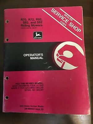 John Deere R70 R72 R92 S82 S92 Riding Mower Operators Manual Issue G5