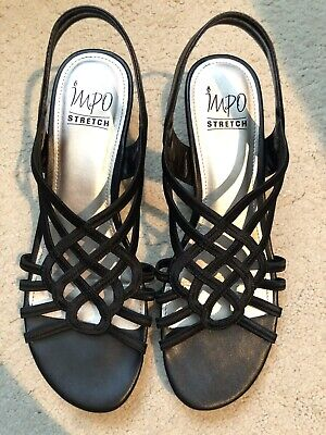 Impo Black Stretch Sandals, Size 8-1/2M Pre-Owned