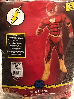NEW DC Comics The Flash Muscle Chest Halloween Costume Youth Child Size L 12-14 (Flash Halloween)